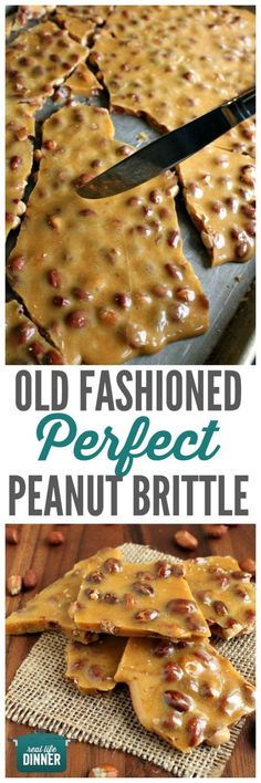 Mom's Best Peanut Brittle Recipe via Real Life Dinner - Old Fashioned PERFECT Peanut Brittle has to be included in your Christmas Gift Plates and Goodies Bags!