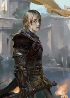 injured female human knight / fighter RPG character portraits / inspiration