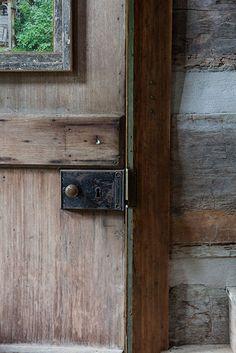 Photo Credit: Hollis Bennett. Original hinges on a walnut door circa 1800s.