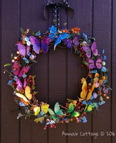 Rainbow butterfly wreath for Spring (Armour Cottage) Tags: door flowers summer color wall easter outside spring colorful butterflies wreath eggs Spring Door Wreaths, Summer Wreath, Wreaths For Front Door, Mesh Wreaths, Christmas Wreaths, Easter Wreaths Diy, Flip Flop Wreaths, Yarn Wreaths, Winter Wreaths