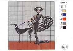 0 point de croix  femme art deco avec levrier - cross stitch art deco lady with dog