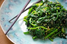 blissful eats with tina jeffers: japanese sesame spinach