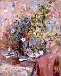Edouard Vuillard / Flowers, 1906 Vuillard went a little crazy with this one! Edouard Vuillard, Art Floral, Pierre Bonnard, Impressionist Artists, Post Impressionism, Paul Gauguin, Flower Art, Life Flower, Painting & Drawing