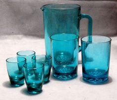Vintage Retro 1970s Ravenhead Aquamarine Teal Blue Glass Jug & Drinking Glasses