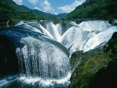 i never really had the desire to go to china. but this is beautiful :: The Pearl Waterfall, Jiuzhaigou Valley, China
