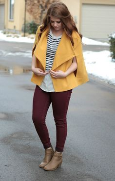 Yellow coat outfit idea. Mod cloth coat, Madison and sixth top, cotton on wine skinny jeans, and mod cloth booties.