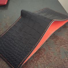 Hand sewn Alligator bifold wallet/ fully lined with orange calfskin. . Fil au chinois thread by littlewaysny