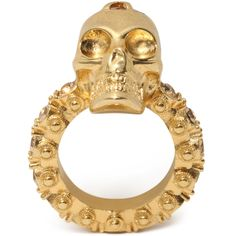 Skull ring with Swarovski crystal detail. Brass hardware with gold finish. Skull Jewelry, Rhinestone Jewelry, Skull Rings, Jewellery, Swarovski Crystal Rings, Crystal Jewelry, Womens Jewelry Rings, Women Jewelry, Alexander Mcqueen Ring