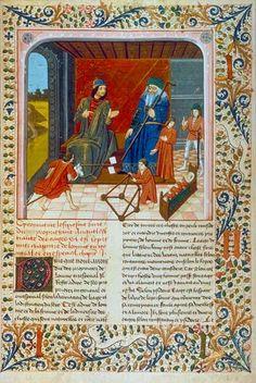 The seven ages of man in the Liber de proprietatibus rerum (BNF Fr. 218, fol. 95), fourth quarter of the 15th century