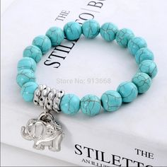 [Visit to Buy] ZOSHI Wholesale Bracelets & Bangles Fashion Vintage Bohemia Stone Tibetan Silver Elephant charm Stretch bracelet jewelry women Antique Bracelets, Metal Bracelets, Bangle Bracelets, Bracelet Turquoise, Turquoise Beads, Blue Beads, Turquoise Stone, Elephant Bracelet, Quartz Crystal Necklace