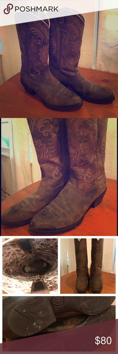 Ariat Womens Cowgirl Boots Full grain leather. Advanced Torque Stability. Gently used. In good condition. Distressed leather look with floral detail. Very warm Ariat Shoes Heeled Boots