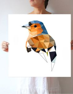 L64 - chaffinch - bird art print by villavera on Etsy