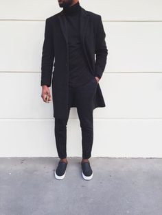All Black Everything Style - BLVCK Fashion - Fashionboxx All Black Everything Outfit Wearing All Black, All Black Outfit, Black Outfits, All Black Wardrobe Men, All Black Look Men, All Black Style, Black Slip On Sneakers Outfit, Mens Slip On Sneakers, Outfits Hombre