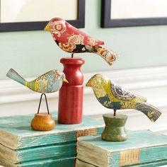Wisteria - Accessories - Decorative Objects - Colorful Folk Art Flock - Set of 3 Bird Crafts, Cute Birds, Pretty Birds, Table Accessories, Bird Art, Flocking, Bird Feathers, Decorative Objects, Beautiful Birds