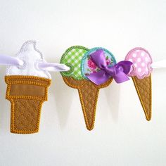 Ice Cream Banner ITH Project by Big Dreams Embroidery