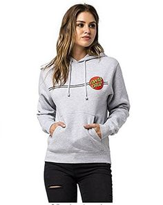 130c6a91c357c Santa Cruz Classic Dot Pullover Hooded Sweatshirt Juniors (Heather Grey)  Santa Cruz Jacket