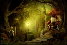 Mysterious by ~MeeranUhm on deviantART Digital Art Fantasy, Fantasy Art, Creatures 3, Enchanted Wood, Earth Spirit, 3d Landscape, Fairy Houses, Fantasy World, Map Art