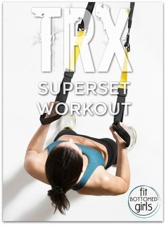 We've got a killer superset workout you can do alone or with a partner using just a TRX and one set of weights. Get ready to sweat! Trx Workouts For Women, Fun Workouts, At Home Workouts, Fitness Workouts, Fitness Herausforderungen, Physical Fitness, Mens Fitness, Fitness Plan, Biceps