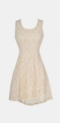 Twinkling Lace High Low Dress in Beige would be pretty for bridal shower