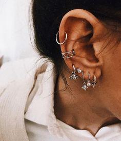 how to wear cartilage helix hoop pin piercing earrings inspiration idea Jewelry Nickel Free L. - how to wear cartilage helix hoop pin piercing earrings inspiration idea Jewelry Nickel Free Loop St - Ear Jewelry, Cute Jewelry, Women Jewelry, Fashion Jewelry, Silver Jewelry, Jewelry Ideas, Jewelry Model, Stone Jewelry, Boho Jewelry