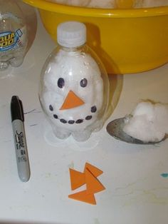 Snowman in a Bottle....add some water for younger children and it becomes a melting snowman