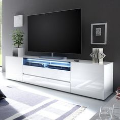 Vicenza 203 lowboard tv stand white tv unit modern tv units and pertainin. Futuristisches Design, Tv Unit Design, Deco Design, Design Case, Design Ideas, Design Projects, White Gloss Tv Unit, White Tv Unit, Large Tv Cabinet