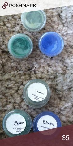 Mineral eyeshadows from beauty from the earth Tropical, sour and electric from beauty from the earth, sample sizes but these last forever i have more and ive used them 10+ times with more to spare, colors are just a bit bright for me beauty from the earth Makeup Eyeshadow
