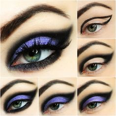 50 Halloween-Haar- und Make-up-Tutorials - Looks - halloween schminke Black Eye Makeup, Purple Witch Makeup, Goth Eye Makeup, Witch Makeup Easy, Pretty Witch Makeup, Fox Makeup, Clown Makeup, Scary Makeup, Makeup Geek