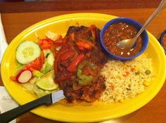 El Salvadorean carne with rice and beans