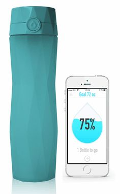 Ocean Teal Hidrate smart water bottle and Hidrate app with droplet filling up. This will be my new best friend!!!