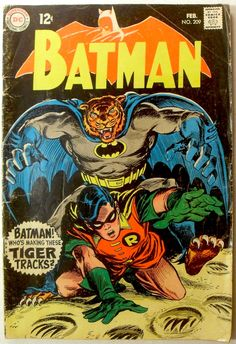 There's some weird anatomy at play on tiger-Batman, but this Irv Novick BATMAN cover packs the sort of impact more typically reserved for DC's mystery comics of the era. I don't know what it means either, but I certainly want to crack it open and find out. The only misstep, I think, is in making the background of the logo orange, which doesn't provide enough contrast with the letters of the type.
