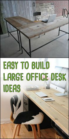 These easy to build large home office desk ideas require very little effort and spare the wallet! Do you need one of these - These easy to build large home office desk ideas require very little effort and spare the wallet! Large Office Desk, Diy Office Desk, Home Office Space, Home Office Desks, Diy Desk, Office Decor, Large Desks, Hone Office Ideas, Home Office Furniture Ideas