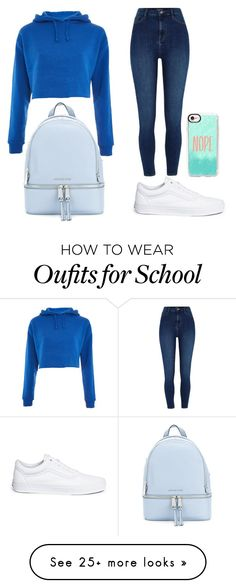 """""""Back to school"""" by fashiondevaunicorn on Polyvore featuring Vans, MICHAEL Michael Kors, Topshop and Casetify"""