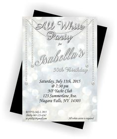 Summer White Party Party invitations Birthdays and Birthday party