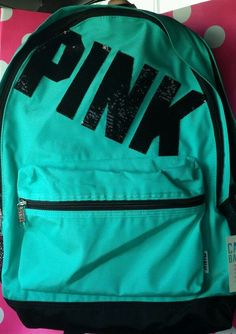 Victorias Secret PInk Campus Backpack Bookbag Carry On Full Size Sequence #VictoriasSecret #Backpack