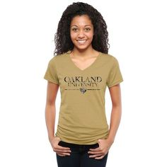 Oakland Golden Grizzlies Women's Classic Wordmark Tri-Blend V-Neck T-Shirt - Khaki - $29.99