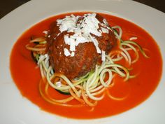 A vegetarian option, meat free... meat balls with vegetable spaghetti in a fresh tomato sauce...October 2014 Ultimate Mind & Body retreat...