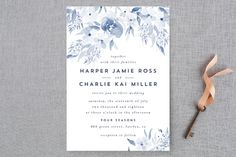 """Poetic Watercolor Flowers"" - Floral & Botanical Wedding Invitations in Petal by Qing Ji."
