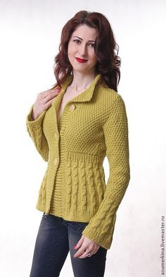 "Buy Jacket ""Mustard and Honey"" – olive, spice … - Knitting Cardigan Crochet Cowl Free Pattern, Knit Vest Pattern, Baby Knitting Patterns, Knitting Designs, Hand Knitting, Crochet Short Dresses, Crochet Clothes, Crochet Baby Cardigan, Crochet Jacket"