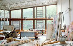 Studio of Willem de Kooning in Springs, showcased in Architectural Digest, 1982