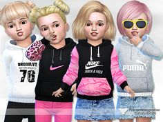 Sporty Hoodie for Toddler by Pinkzombiecupcakes at TSR • Sims 4 Updates