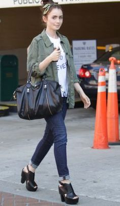 Effortless but still casual and put together. Love Lily Collins style!