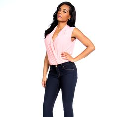 Pink Chiffon Low Cut Bodysuit