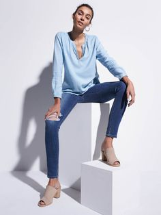 I'd love to add a skinny jean with knee rips to my closet. Preferably, lighter denim.