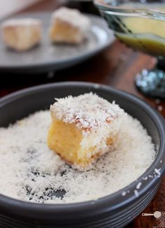 mango, white chocolate and lime lamingtons // sponge cake dipped in mango sauce and coconut
