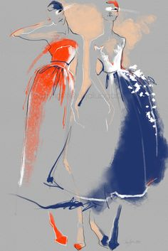 Fashion Week 2016 by Julija Lubgane at Coroflot.com Bright new fashion illustration of Carolina Herrera designs.