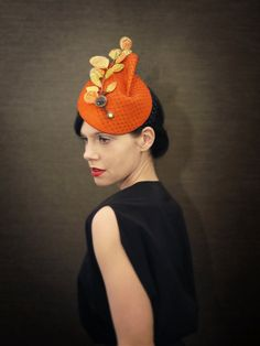 Orange Felt Fascinator with Golden Velvet Leaves and Birdcage Veil on Etsy, $155.00