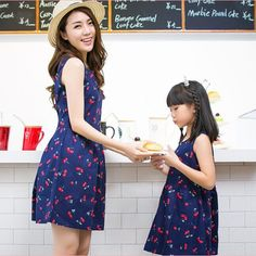 51590f52f68 Baby Girls Dresses Summer Matching Mother Daughter Dress Plus Size Lady  Cherry Print Cotton toddler Family Clothing Vestidos Hot