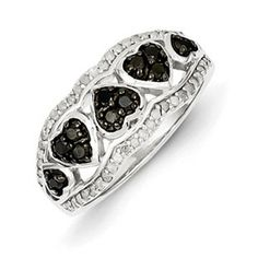1/2 Carat Black White Diamond Hearts Ring In Sterling Silver Available Exclusively at Gemologica.com