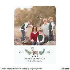 Loved Dearly 1 Photo Holiday 5x7 Paper Invitation Card